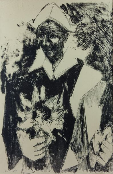 Bernard LORJOU (1908-1986) : Arlequin. Lithographie...