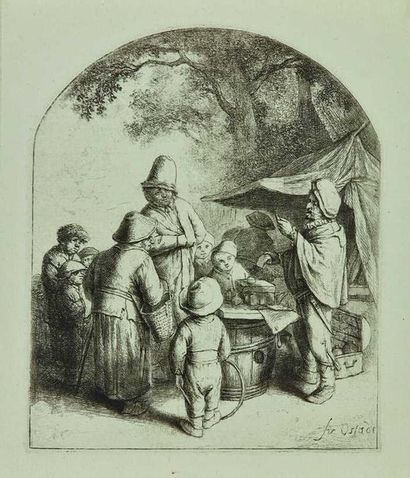 Adrien VAN OSTADE (1610-1685) : Le Charlatan,...