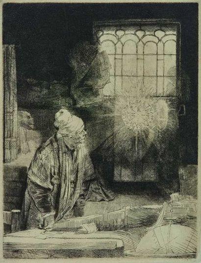 REMBRANDT (1607-1669) : Faustus, c. 1652....