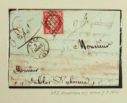 France. Émission 1849. 1F VERMILLON sur devant...