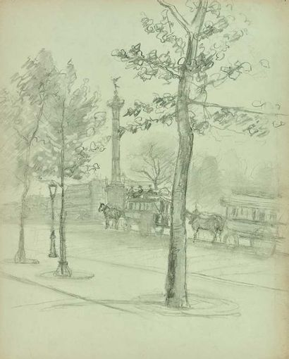 Eugène BÉJOT (1867-1931) : Place de la Bastille,...