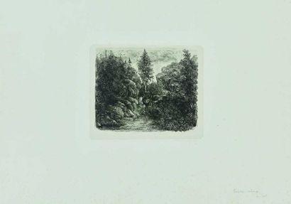 Rodolphe BRESDIN (1822-1885) : Paysage rocheux,...