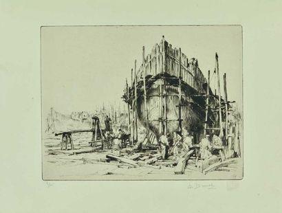 Auguste BROUET (1872-1941) : Chantier Naval....