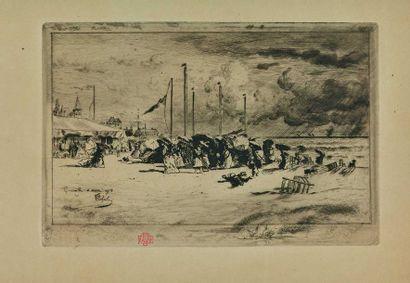 Félix BUHOT (1847-1898) : Un grain à Trouville,...