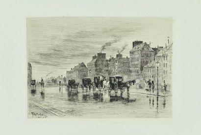 Félix BUHOT (1847-1898) : Une matinée d'hiver...