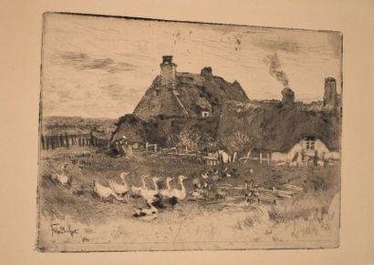 Félix BUHOT (1847-1898) : Les Petites chaumières,...