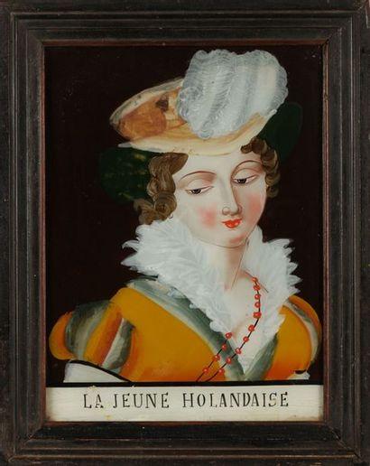 Peinture sous verre La jeune holandaise (sic)...