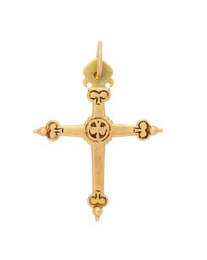 Croix Jeannette en or, gravée au centre de...