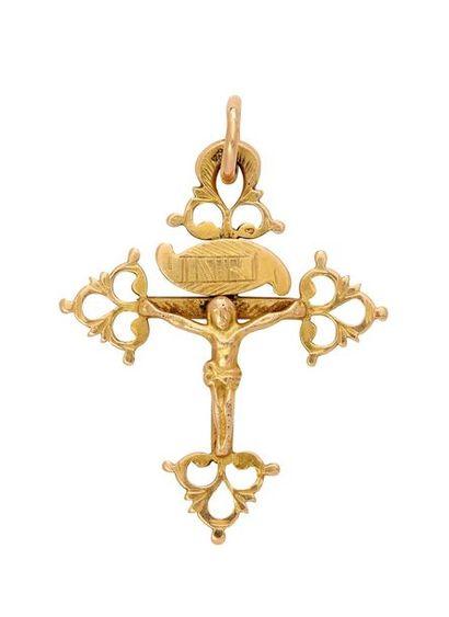 Croix grille du Dauphiné en or, ornée en...