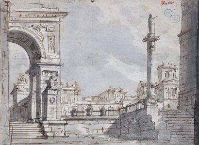 Ecole milanaise du XVIIIe siècle : Vue extérieure...