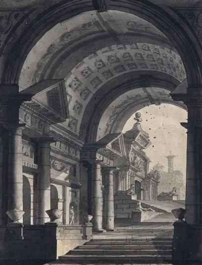 Ecole italienne vers 1800 : Décor architecturé....