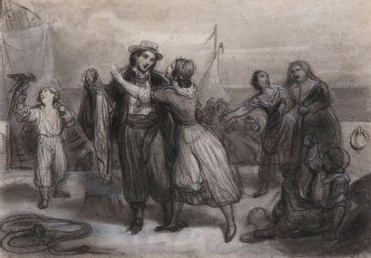 Ecole romantique du XIXe siècle : Scène d'adieu...
