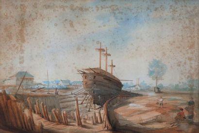 Ecole française du XIXe siècle : Bateau en...