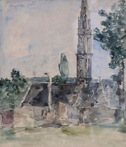 Attribué à Eugène BOUDIN (1824-1898)  Eglise...