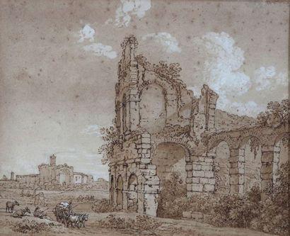 Ecole flamande du XVIIe siècle : Vue du Colisée....