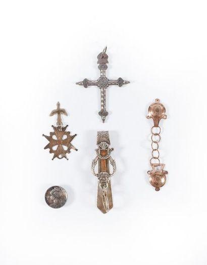 LOT argent : croix jeannette, châtelaine,...
