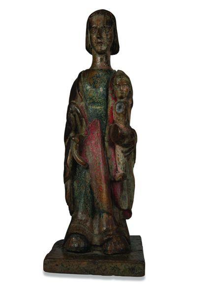 Statue de la Vierge à l'Enfant en chêne sculpté...