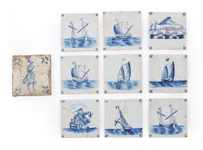 Dix carreaux en faïence bleu et blanc à décor...