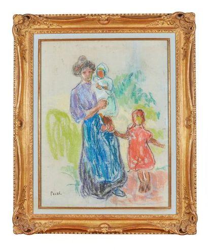 Jean PESKÉ (1870-1949)  Une mère et deux...