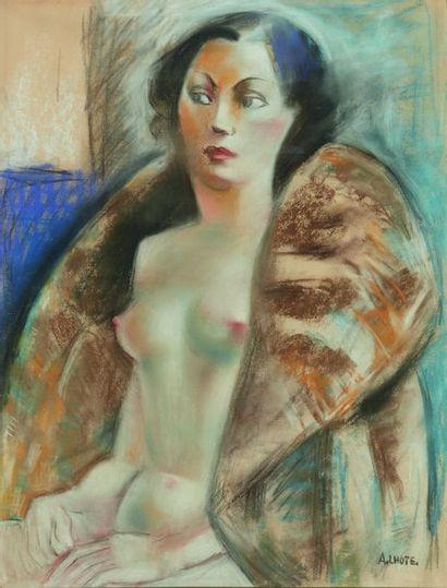 André LHOTE (1885-1962)  Nu au manteau de...