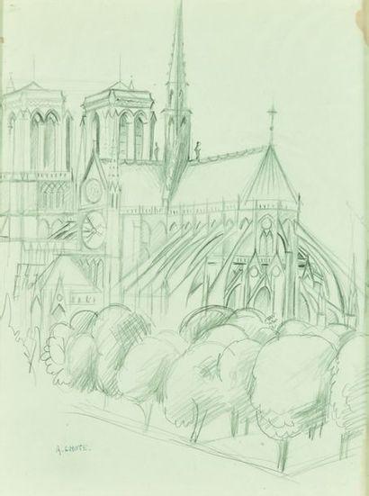 André LHOTE (1885-1962)  Vue de Notre-Dame...