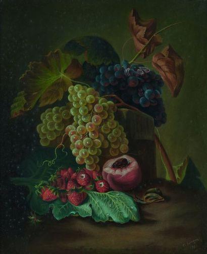 C. DUNOYER  Nature morte aux raisins, fraises...
