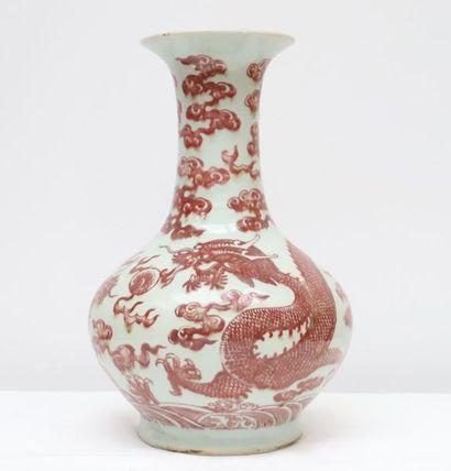 Vase porcelaine Rouge de fer Vase de forme...