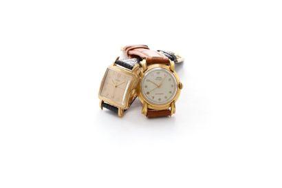 Un lot de deux montres en plaqué or 20 microns...