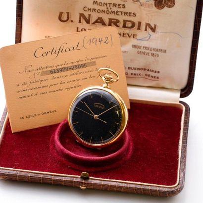 "Ulysse Nardin, ""Chronometer"", circa 1942  Beautiful, rare and large 18K yellow gold,..."