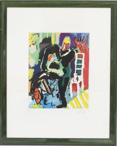 Jean Fetz (né en 1957)  Artiste peintre luxembourgeois,...