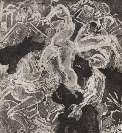 Lithographie  Lithographie monochrome représentant...