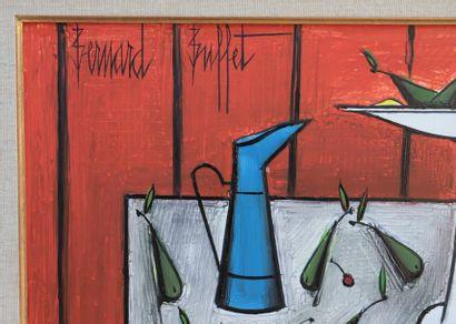 Bernard BUFFET (1928-1999)  « Nature morte au broc bleu »  Huile sur panneau d'isorel...