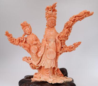 Rare statuette en Corail rouge sculpté - Chine Corail finement sculpté figurant...