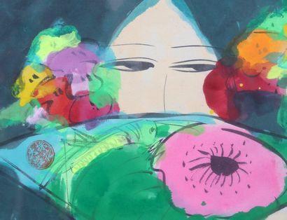 Walasse Ting (1929-2010)  Artiste américain d'origine chinoise  Peinture sur papier...