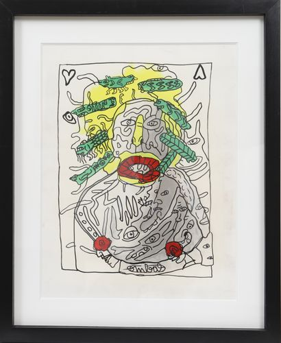 """Robert Combas (Né en 1957) """"Portrait d'étonné vieux épicier épicé du trou de balle..."""