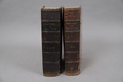 ŒUVRES de BUFFON  5 tomes reliés en deux...