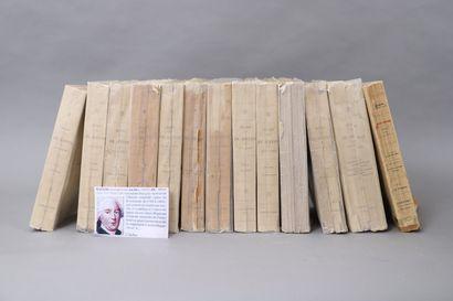 Lot de 13 volumes brochés des ŒUVRES de BUFFON....