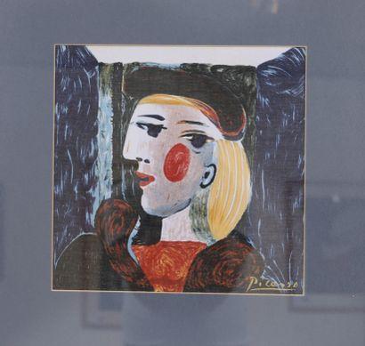 Pablo Picasso (1881-1973)  Foulard encadré...