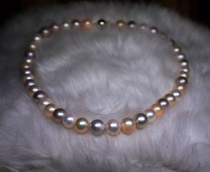 Important collier perles de culture naturelles...