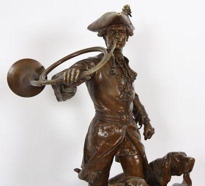 """Important bronze """"le sonneur et ses deux chiens"""" de Moreau et Lecourtier Bronze..."""