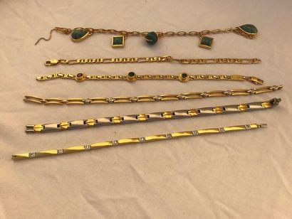 Lot de 6 bracelet en or  Lot composé de deux...