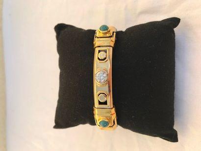 Bracelet homme Bracelet or jaune 18K serti...