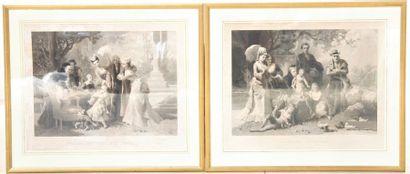 Un ensemble de deux lithographies  Monochrome...
