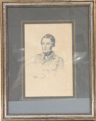 Portrait militaire  Gravure monochrome sur...