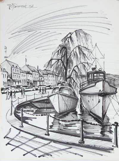 Dessin de Pierre Droessaert (1923-1997)  Dessin...