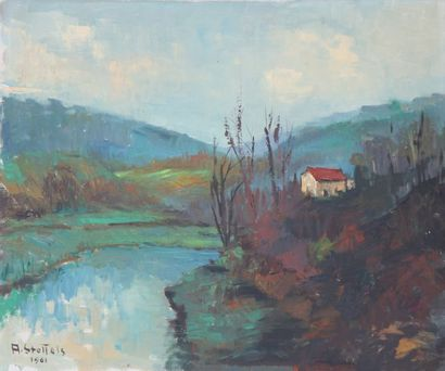 Paysage luxembourgeois de Arno Stoffels (1909-1976)...