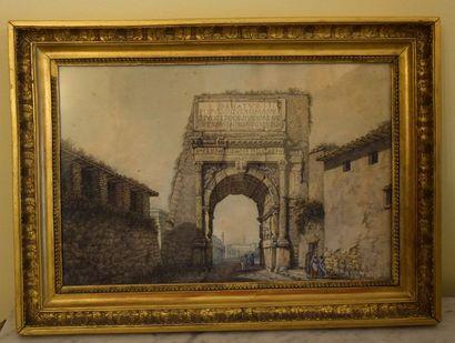 Ecole FRANCAISE du XIX ème, L'arc de Titus...