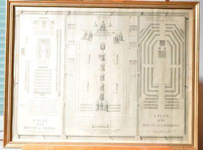 Plan de la chambre des Communes. Gravure...