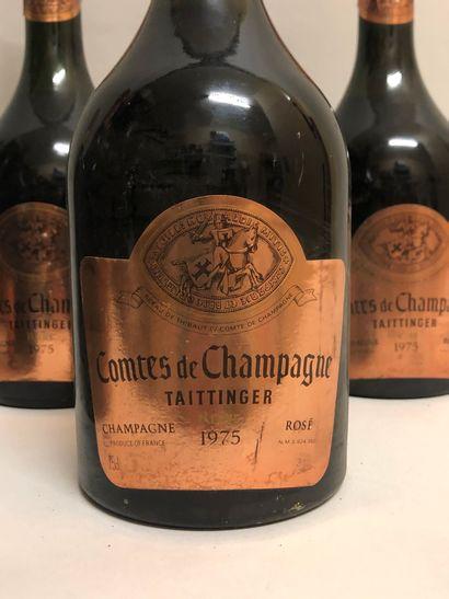 """Ensemble de 6 bouteilles CHAMPAGNE : 4 bouteilles rosé """"Comtes de Champagne"""", Taittinger,..."""