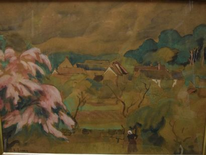 Carlo ZANON (1889-?) Paysage de campagne,...